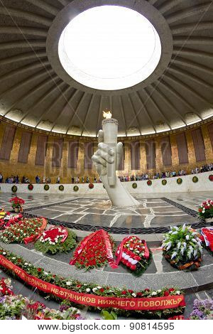 Wreaths Of Flowers Laying At The Monument Of The Eternal Flame Inside The Hall Of Military Glory Of