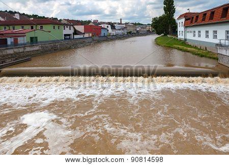 Increased water level in city, Czech republic