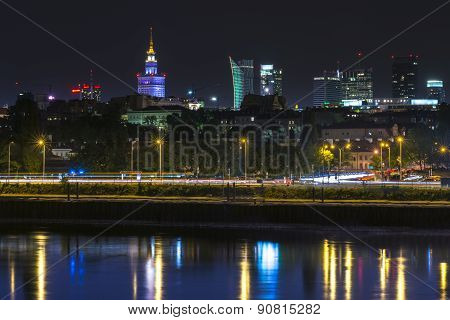 Night View Of Warsaw Downtown