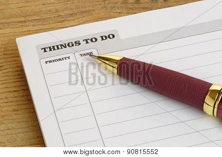 Things To Do Pad With Pen