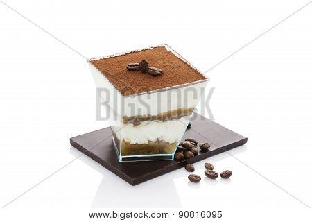 Tiramisu Cake With Coffee Beans Isolated.