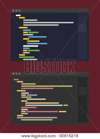 two color themes of developer code editor, flat design illustration