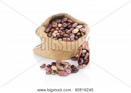 Pinto Beans In Burlap Sack.