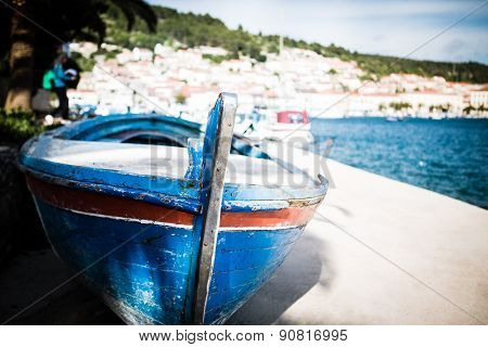 Small fishing boat on sunny morning in Vela Luka,Korcula Island, Croatia.Small fishing boat