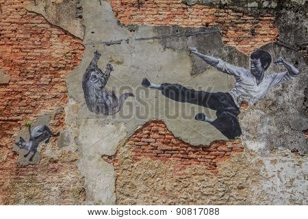 Penang Bruce Lee And Cats Wall Artwork