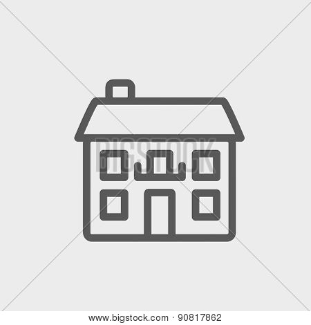 Real estate house icon thin line for web and mobile, modern minimalistic flat design. Vector dark grey icon on light grey background.