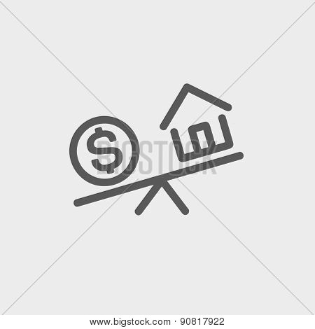 Compare or exchange home to money icon thin line for web and mobile, modern minimalistic flat design. Vector dark grey icon on light grey background.