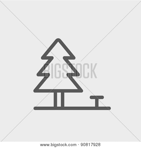 Pine tree icon thin line for web and mobile, modern minimalistic flat design. Vector dark grey icon on light grey background.