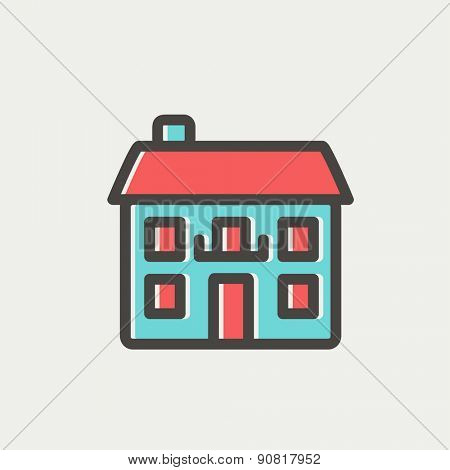Real estate house icon thin line for web and mobile, modern minimalistic flat design. Vector icon with dark grey outline and offset colour on light grey background.