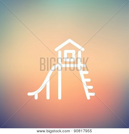Playhouse with slide icon thin line for web and mobile, modern minimalistic flat design. Vector white icon on gradient mesh background.