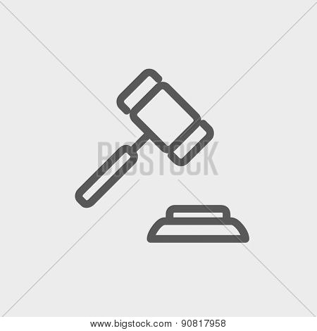Gavel icon thin line for web and mobile, modern minimalistic flat design. Vector dark grey icon on light grey background.