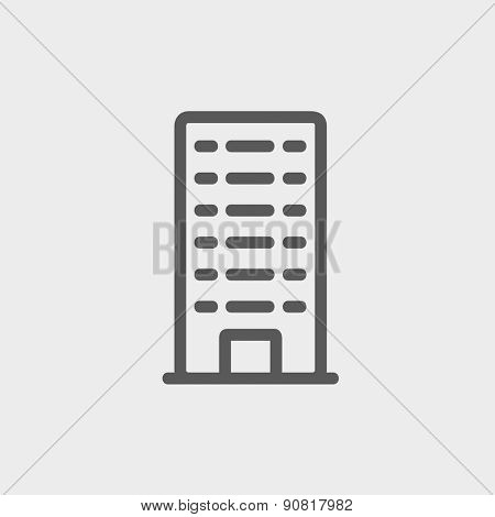 Office building icon thin line for web and mobile, modern minimalistic flat design. Vector dark grey icon on light grey background.