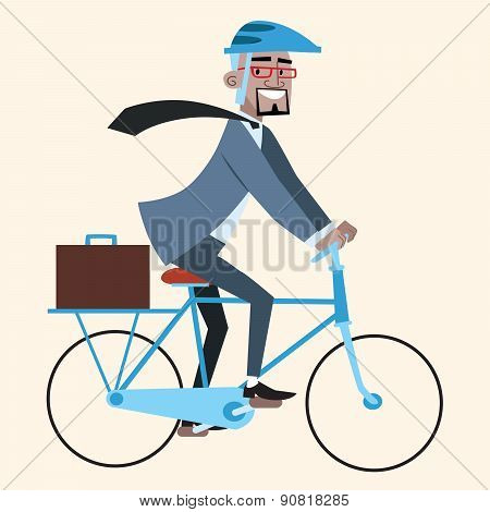 Black Businessman On Bike Rides To Work