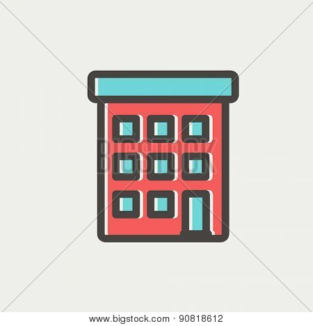 Condominium building icon thin line for web and mobile, modern minimalistic flat design. Vector icon with dark grey outline and offset colour on light grey background.