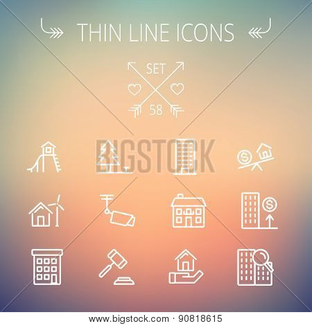 Real estate thin line icon set for web and mobile. Set includes-pine tree, antenna, gavel, playhouse, windmill, buildings icons. Modern minimalistic flat design. Vector white icon on gradient mesh