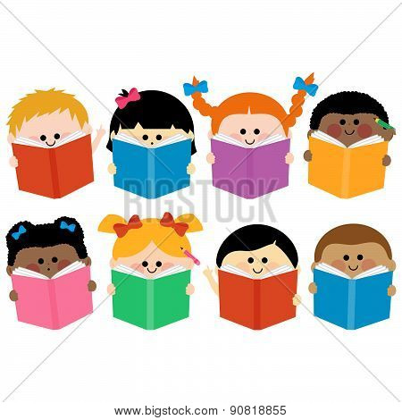 Group of kids icons reading books