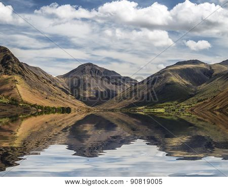 Stunning Landscape Of Wast Water With Reflections In Calm Lake Water In Lake District