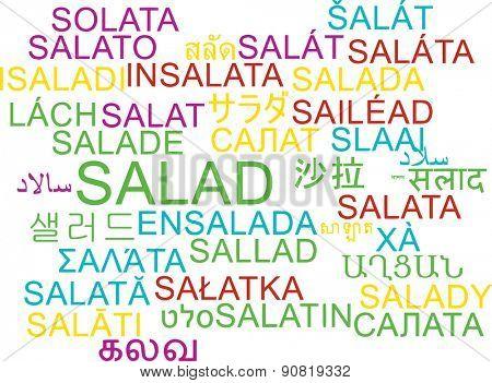 Background concept wordcloud multilanguage international many language illustration of salad