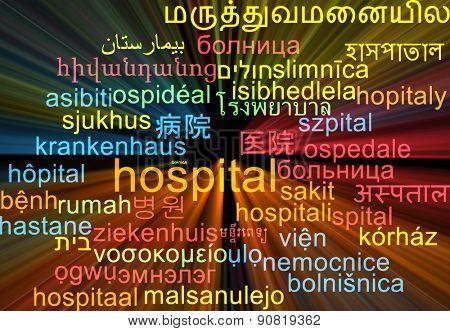 Background concept wordcloud multilanguage international many language illustration of hospital glowing light