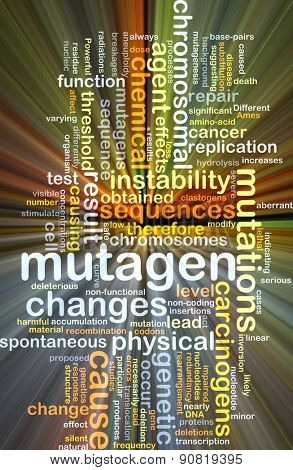 Background concept wordcloud illustration of mutagen glowing light
