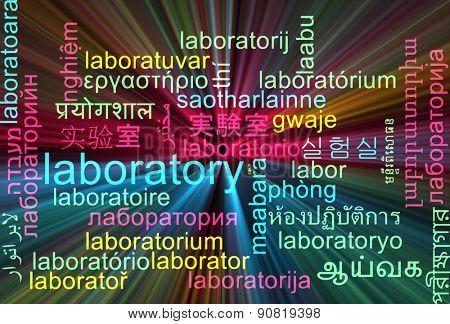 Background concept wordcloud multilanguage international many language illustration of laboratory glowing light