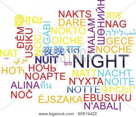 Background concept wordcloud multilanguage international many language illustration of night