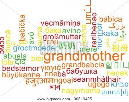 Background concept wordcloud multilanguage international many language illustration of grandmother