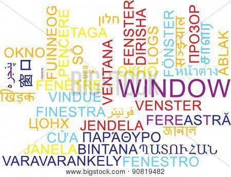 Background concept wordcloud multilanguage international many language illustration of window