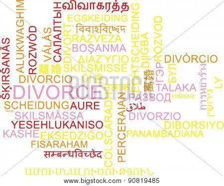Background concept wordcloud multilanguage international many language illustration of divorce
