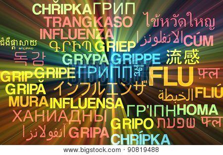 Background concept wordcloud multilanguage international many language illustration of flu glowing light