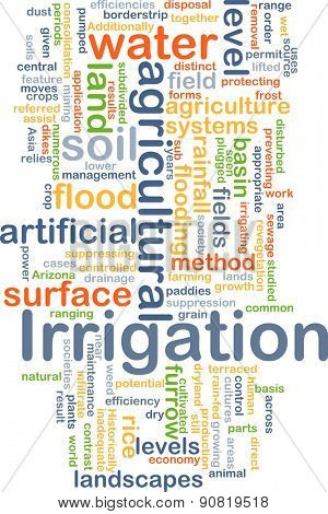 Background concept wordcloud illustration of irrigation