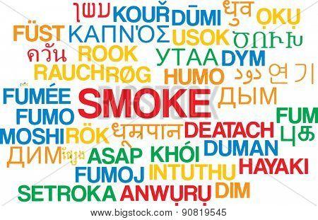 Background concept wordcloud multilanguage international many language illustration of smoke