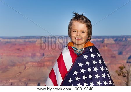 Boy with American flag, Grand Canyon National Park
