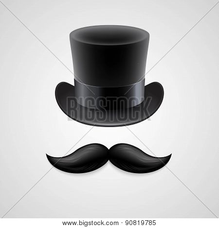 Vintage  top hat, mustaches. Vector illustration
