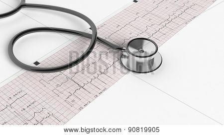 Stethoscope and cardiogram isolated on white background