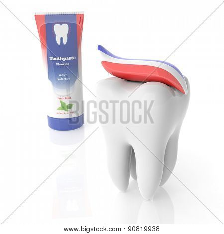 Molar tooth with toothpaste tube isolated on white