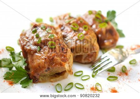 Stuffed Cabbage Leaves In Tomato Sauce
