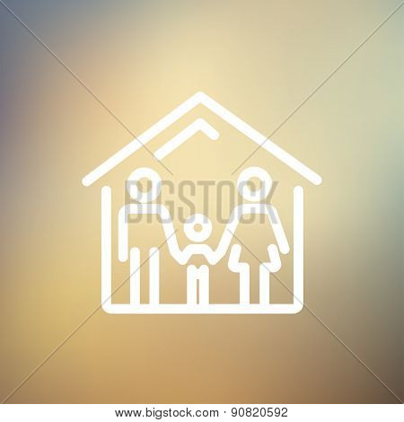 Family house icon thin line for web and mobile, modern minimalistic flat design. Vector white icon on gradient mesh background.
