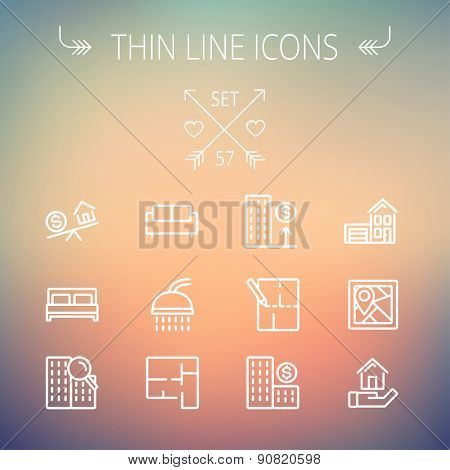 Real estate thin line icon set for web and mobile. Set includes- sofa, double bed, shower, drawing, buildings, house with garage icons. Modern minimalistic flat design. Vector white icon on gradient