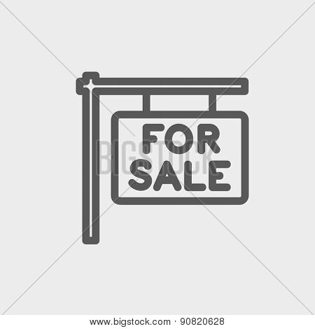For sale placard icon thin line for web and mobile, modern minimalistic flat design. Vector dark grey icon on light grey background.