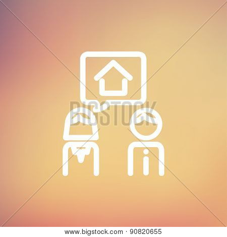 Couple consider to buy a house icon thin line for web and mobile, modern minimalistic flat design. Vector white icon on gradient mesh background.