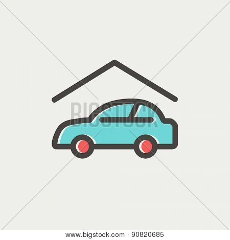 Car garage icon thin line for web and mobile, modern minimalistic flat design. Vector icon with dark grey outline and offset colour on light grey background.