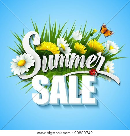Summer And Spring Sale Template Vector Illustration