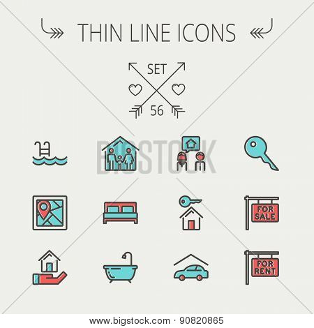 Real estate thin line icon set for web and mobile. Set include-key, placard, couple, garage, family, tub, pool  icons. Modern minimalistic flat design. Vector icon with dark grey outline and offset