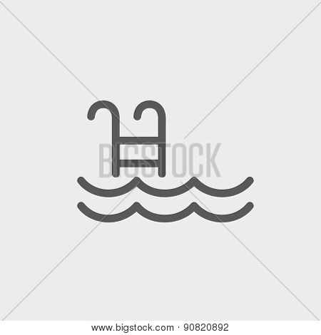 Swimming pool with ladder icon thin line for web and mobile, modern minimalistic flat design. Vector dark grey icon on light grey background.