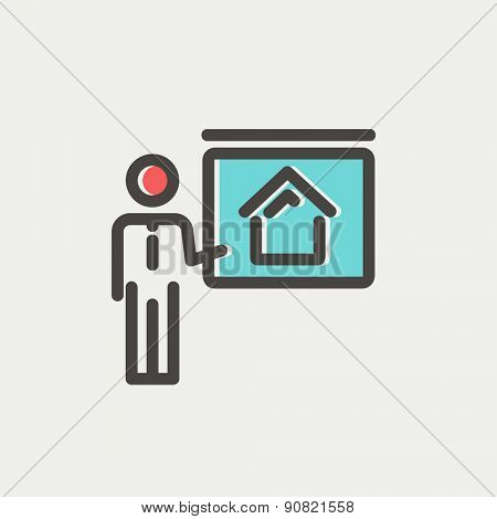 Real estate training icon thin line for web and mobile, modern minimalistic flat design. Vector icon with dark grey outline and offset colour on light grey background.