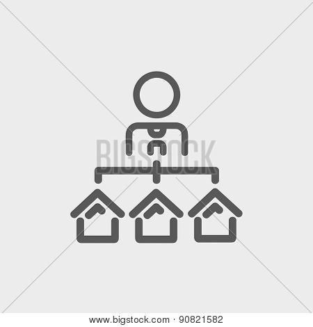Agent with three houses for sale icon thin line for web and mobile, modern minimalistic flat design. Vector dark grey icon on light grey background.