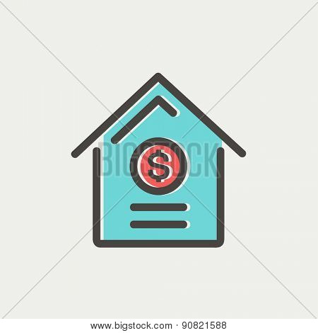 Dollar house icon thin line for web and mobile, modern minimalistic flat design. Vector icon with dark grey outline and offset colour on light grey background.