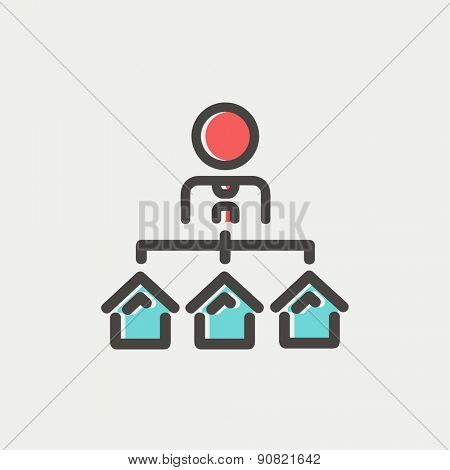Agent with three houses for sale icon thin line for web and mobile, modern minimalistic flat design. Vector icon with dark grey outline and offset colour on light grey background.