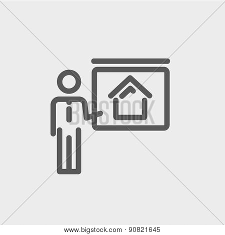 Real estate training icon thin line for web and mobile, modern minimalistic flat design. Vector dark grey icon on light grey background.
